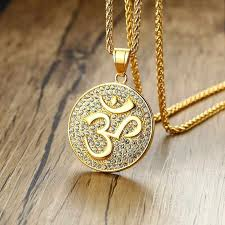 om necklaces gold tone stainless steel