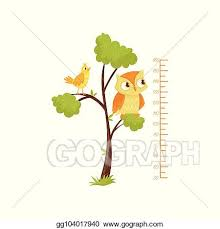 Clip Art Vector Kids Height Chart And Birds Sitting On Branches Of Tree Scale Of Growth Decorative Wall Sticker For Children Room Flat Vector Design Stock Eps Gg104017940 Gograph
