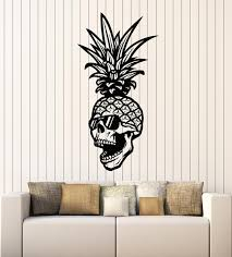Vinyl Wall Decal Skull Glasses Skeleton Pineapple Tropical Fruit Stick Wallstickers4you