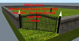 Second Life Marketplace Roman Greek Stone Square 40x40 Fence With Iron Gate Boxed