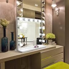 white large desktop hollywood mirror