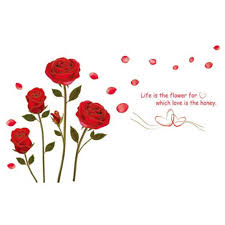 Shop Red Rose Life Is The Flower Wall Vinyl Overstock 17292806