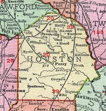 Houston County, Georgia, 1911, Map, Perry, Ft. Valley, Wellston, Warner  Robins