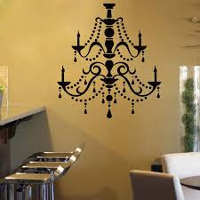 Chandelier Vinyl Wall Sticker Vintage Ceiling Lamp Wall Decal New Design Light Candle Lamp Wallpaper Home Decoration Art Ay1014 Wall Stickers Aliexpress