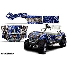Amazon Com Amr Racing Golf Cart Graphics Kit Sticker Decal Compatible With Yamaha 1995 2006 Mad Hatter Blue Silver Automotive