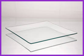 7 square clear shallow glass plate 1 8