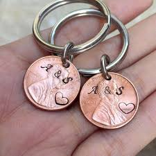 1995 penny keychain for couples from