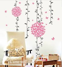Wall Decal Pink Flowers Nature Vinyl Wall Cuma Wall Decals