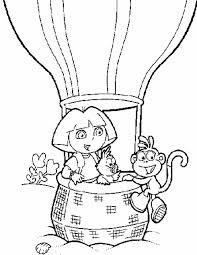 Kleuren Nu Dora En Boots In De Luchtballon Kleurplaten