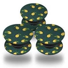 Decal Style Vinyl Skin Wrap 3 Pack For Popsockets Lemon Dark Teal Popsocket Not Included By Wraptorskinz Popsockets Dark Teal Lemon Leaves