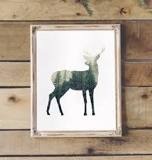 Deer Silhouette In The Forrest Rustic Art Print Rustic Home Etsy