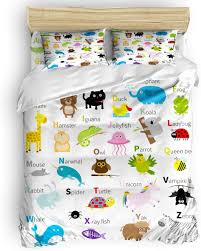 Amazon Com Twin Size 4 Pieces Bed Sheets Set Abc Learning Alphabet Kids Educational Funny Teaching Words 3d Print Floral Duvet Cover Set Home Kitchen