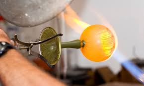 glass blowing class through the fire