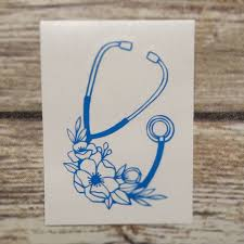 Floral Stethoscope Vinyl Decal Etsy Vinyl Decals Stethoscope Decal Nurse Gifts