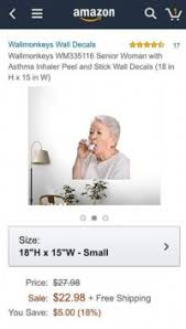 E Amazon A Y Wallmonkeys Wall Decals Wallmonkeys Wm335 116 Senior Woman With Asthma Inhaler Peel And Stick Wall Decals 18 In H X 15 In W Size 18h X 15w Small