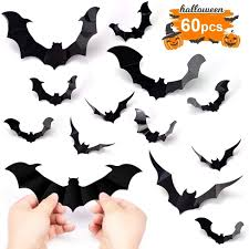 Amazon Com Hely Cancy Halloween Bats Decorations 60pcs Pvc Bat Wall Decals Stickers 3 Styles 3d Removable Wall Sticker With 4 Different Sizes For Halloween Decor Party Favors Props Supplies Cemetery Decor Kitchen Dining