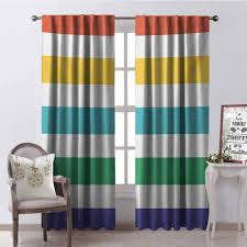 Amazon Com Tapesly Striped 99 Blackout Curtains Rainbow Colored And White Fun Horizontal Lines Kids Room Red Yellow Blue Green Art For Bedroom Kindergarten Living Room W52 X L84 Inch Multicolor Home
