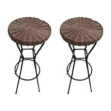 french rattan barstools on black metal
