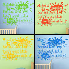 Baby Boys Nursery Wall Sticker Quote Bedroom Wall Decor Decal Mischief Giggles Fun And Love