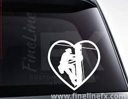 Love My Lineman Electric Utility Worker Heart Vinyl Decal Sticker