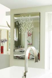 glass glitter tree wall mirror
