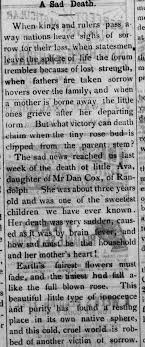 Death of Ava Cox, daughter of Dan Cox of Randolph, abt age 3 -  Newspapers.com
