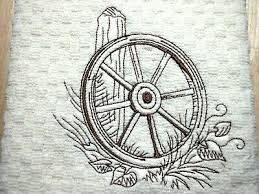 Wagon Wheel Leaning On A Fence Design Embroidered Dish Towel Ivory Ebay
