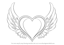 learn how to draw heart with wings