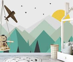 Geometric Triagle Green Mountains Sun Plane Wallpaper Children Kids Room Mural Home Decor Wall Art In 2020 Kids Room Murals Mural Wallpaper Geometric Mountain Wallpaper