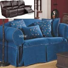 dual reclining sofa slipcover denim