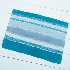 turquoise stripes bath rug