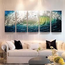 china handmade blue seawave 3d metal