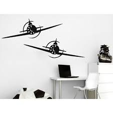 Shop Biplane Decal Airplane Wall Decals Plane Stickers Nursery Playroom Boys Kids Baby Room Sticker Decal Size 44x52 Color Black Overstock 14056661