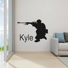 Personalized Boys Room Sticker Soldier Wall Decal Army Wall Decal Sniper Decal Name Wallpaper Wl688 Leather Bag