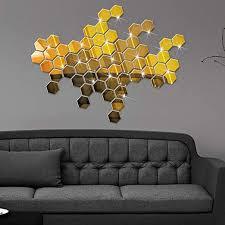 Amazon Com Honeycomb Hexagon Frame Stereo Mirror Wall Sticker 12pcs 3d Mirror Hexagon Vinyl Removable Wall Sticker Decal Home Decor Art Diy New By Gornorriss Home Kitchen