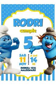 Tarjeta Invitacion Los Pitufos Digital Whatsapp 160 00 En