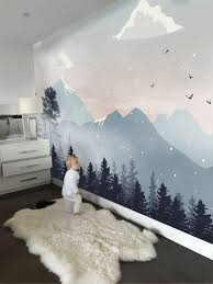 Kids Wallpaper Peel And Stick Self Adhesive Mountain Wall Mural Removable Snowy Mountainscape Wallpaper Natural Wall Mural Childroom Nursery In 2020 Kid Room Decor Baby Room Decor Kids Wall Murals