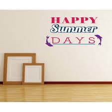 Happy Summer Days Dolphins Quote Wall Decal Vinyl Decal Car Decal Idcolor005 25 Inches Walmart Com Walmart Com