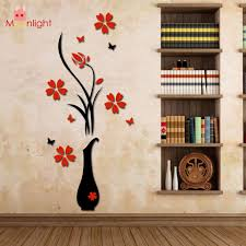 Wall Stickers Acrylic 3d Plum Flower Vase Wall Stickers Home Decor Wall Decal Red Floral Wall Floral Wall Sticker Wall Stickers Home Decor Flower Wall Stickers
