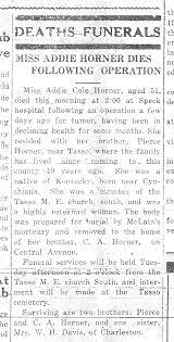 Dick Horner Ancestry - Addie Cole Horner Obituary