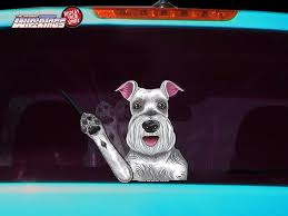 Missy The Schnauzer Waving Dog Decal Wipertag For Rear Windshield Wiper Wipertags