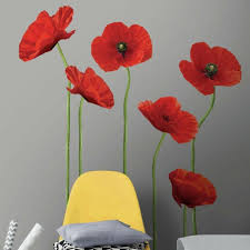 42 Tall Poppies At Play Giant Wall Decals 6 Red Flowers Room Decor Stickers For Sale Online