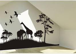 Safari Animals Wall Decal Africa Giraffe And Elephant Vinyl Wall Art Decal African Savanna Wall Decal B Animal Wall Decals Decal Wall Art Wall Stickers Bedroom
