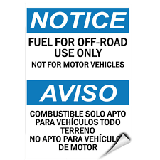 Notice Fuel For Off Road Use Only Not For Motor Vehicles Label Decal Sticker For Sale Online