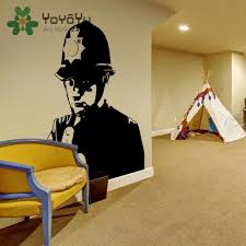 Best Offer E54f Decal Banksy Policeman Graffiti Vinyl Wall Sticker Police Middle Finger Room Decal Decor Scotland Yard Cop Street Art Ny 59 Adw Mycoloringbook Co