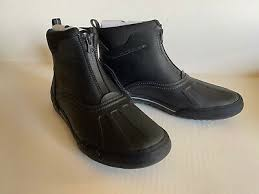 black leather ankle waterproof boots
