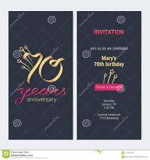 70 Anos Del Aniversario De La Invitacion De Vector De La Tarjeta