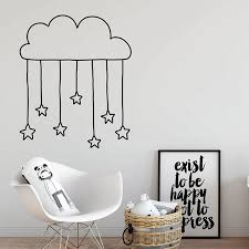 Cloud Hanging Stars Wall Decal Nursery Cut Stars Decals Kids Room Decor Unique Vinyl Wall Stickers Girl Room Decoration C013 Wall Stickers Aliexpress
