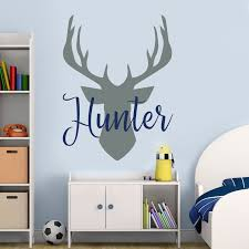 Name Wall Decal Antler Deer Decal Kids Room Decor Baby Boy Etsy