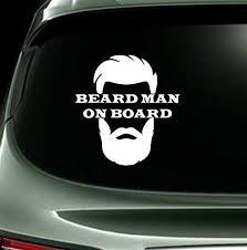 Amazon Com Ael Art Beard Man On Board Stickers Auto Window Sticker Decal For Car Truck Suv Vinyl Decal 15 X 12 White Clothing